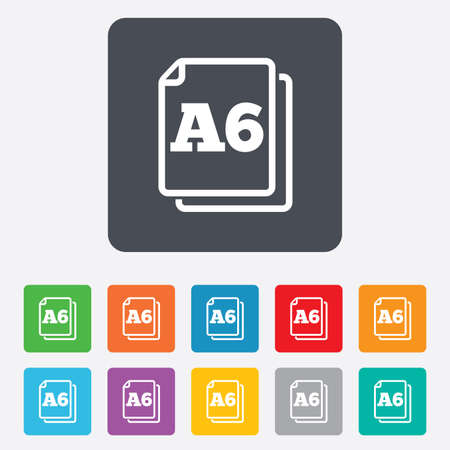 a6: Paper size A6 standard icon. File document symbol. Rounded squares 11 buttons.