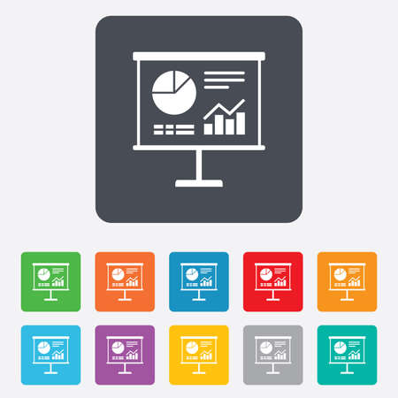 ppt: Presentation billboard sign icon. Scheme and Diagram symbol. Rounded squares 11 buttons.