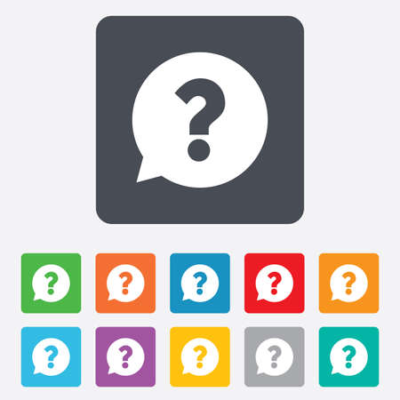 question marks: Question mark sign icon. Help speech bubble symbol. FAQ sign. Rounded squares 11 buttons. Stock Photo