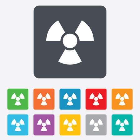 Radiation sign icon. Danger symbol. Rounded squares 11 buttons. photo