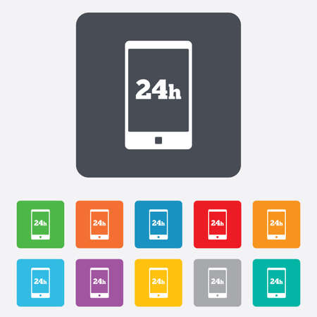 24 hours call center icon. Service and support for customers sign. Rounded squares 11 buttons. photo