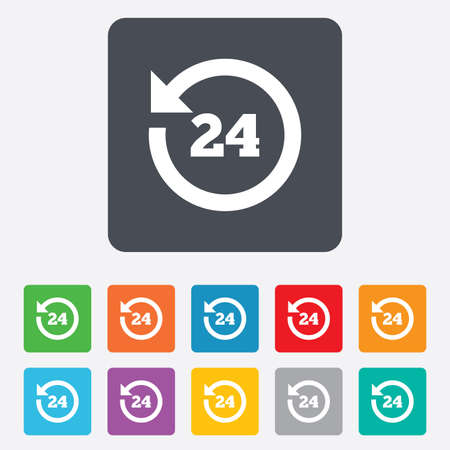 24 hours customer service. Round the clock support symbol. Rounded squares 11 buttons. photo