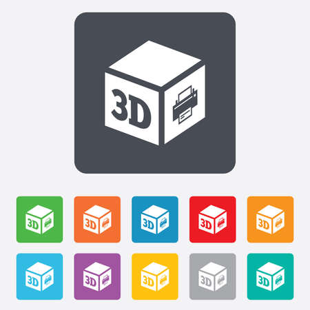 additive manufacturing: 3D Print sign icon. 3d cube Printing symbol. Additive manufacturing. Rounded squares 11 buttons.