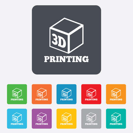 digital printing: 3D Print sign icon. 3d cube Printing symbol. Additive manufacturing. Rounded squares 11 buttons.