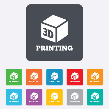 3D Print sign icon. 3d cube Printing symbol. Additive manufacturing. Rounded squares 11 buttons.