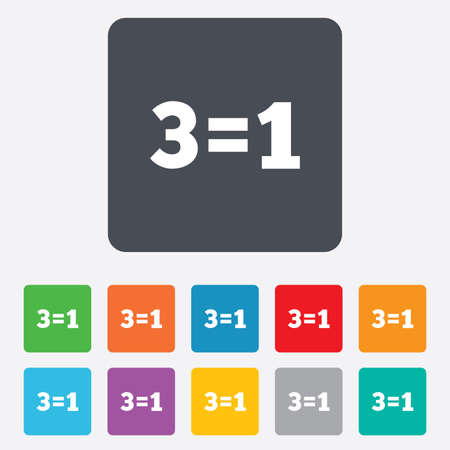 equals: Three for one sign icon. Take three pay for one sale button. 3 equals 1. Rounded squares 11 buttons.