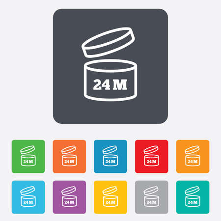 2 months: After opening use 24 months sign icon. Expiration date. Rounded squares 11 buttons. Stock Photo