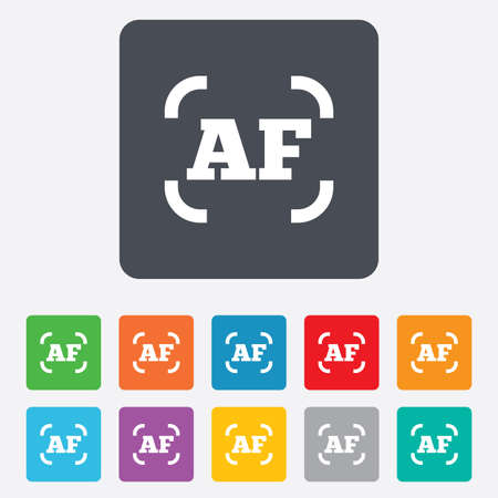 auto focus: Autofocus photo camera sign icon. AF Settings symbol. Rounded squares 11 buttons.