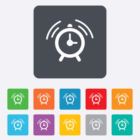 Alarm clock sign icon. Wake up alarm symbol. Rounded squares 11 buttons. photo