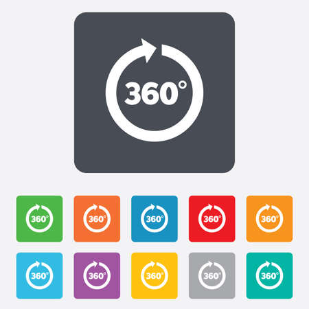 Angle 360 degrees sign icon. Geometry math symbol. Full rotation. Rounded squares 11 buttons. photo