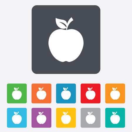 Apple sign icon. Fruit with leaf symbol. Rounded squares 11 buttons. photo