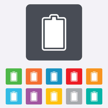 fully: Battery fully charged sign icon. Electricity symbol. Rounded squares 11 buttons.