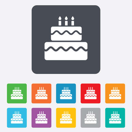 Birthday cake sign icon. Cake with burning candles symbol. Rounded squares 11 buttons. photo