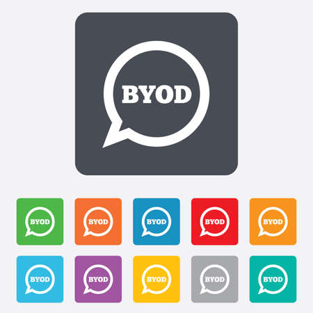 bring: BYOD sign icon. Bring your own device symbol. Speech bubble sign. Rounded squares 11 buttons.