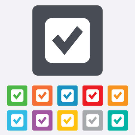 Check mark sign icon. Checkbox button. Rounded squares 11 buttons. photo