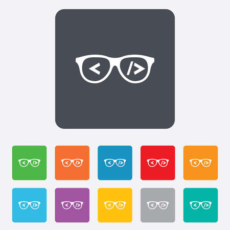 coder: Coder sign icon. Programmer symbol. Glasses icon. Rounded squares 11 buttons. Stock Photo