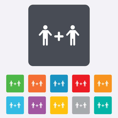 Couple sign icon. Male plus male. Gays. Rounded squares 11 buttons. photo