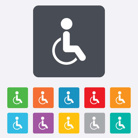 Disabled sign icon. Human on wheelchair symbol. Handicapped invalid sign. Rounded squares 11 buttons. photo