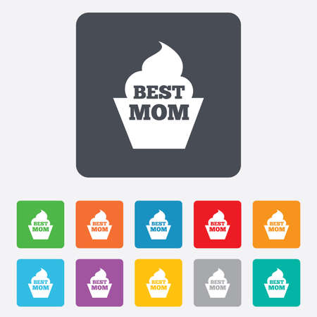 Best mom sign icon. Muffin food symbol. Rounded squares 11 buttons. photo