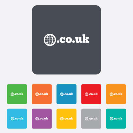 subdomain: Domain CO.UK sign icon. UK internet subdomain symbol with globe. Rounded squares 11 buttons.