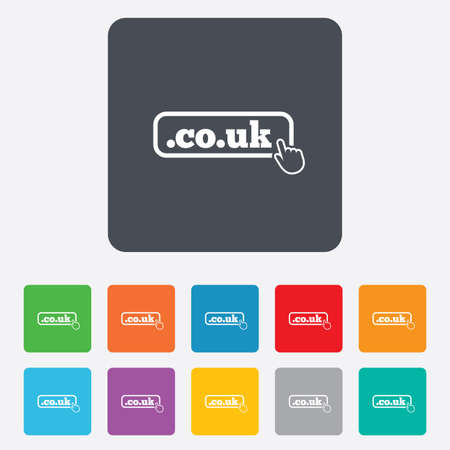 subdomain: Domain CO.UK sign icon. UK internet subdomain symbol with hand pointer. Rounded squares 11 buttons.