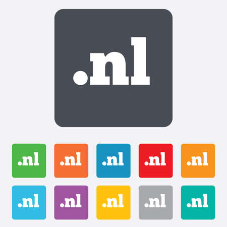 nl: Domain NL sign icon. Top-level internet domain symbol. Rounded squares 11 buttons.