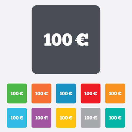 100 Euro sign icon. EUR currency symbol. Money label. Rounded squares 11 buttons. photo