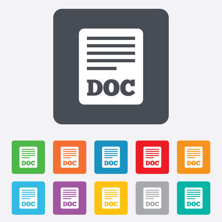 File document icon. Download doc button. Doc file symbol. Rounded squares 11 buttons. photo