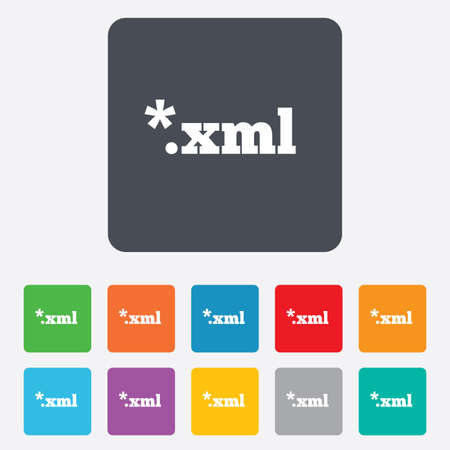 markup: File document icon. Download XML button. XML file extension symbol. Rounded squares 11 buttons.