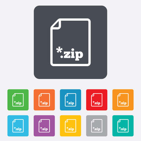 zipped: Archive file icon. Download compressed file button. ZIP zipped file extension symbol. Rounded squares 11 buttons.