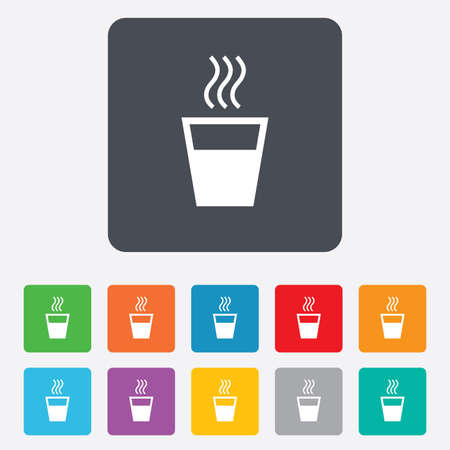 evaporation: Hot water sign icon. Hot drink glass symbol. Rounded squares 11 buttons.