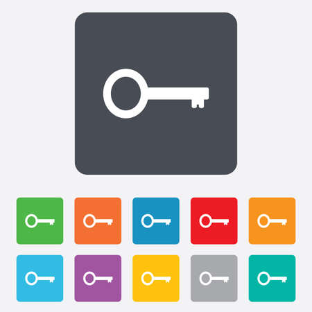 Key sign icon. Unlock tool symbol. Rounded squares 11 buttons. photo
