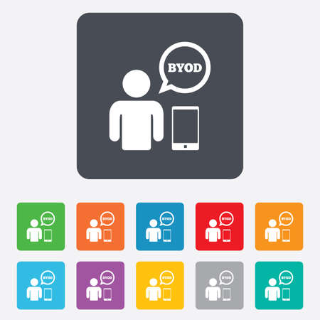 BYOD sign icon. Bring your own device symbol. User with smartphone and speech bubble. Rounded squares 11 buttons. photo