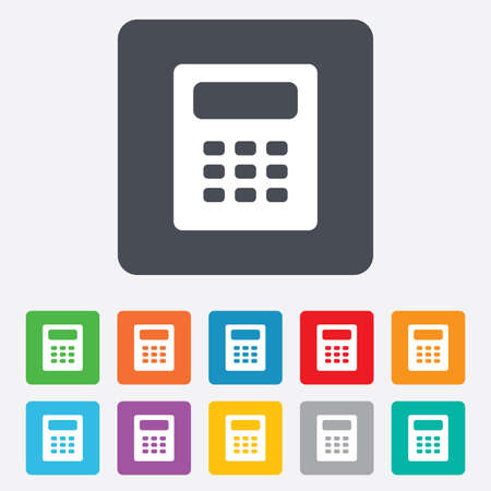 bookkeeping: Calculator sign icon. Bookkeeping symbol. Rounded squares 11 buttons.