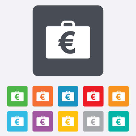 eur: Case with Euro EUR sign icon. Briefcase button. Rounded squares 11 buttons.