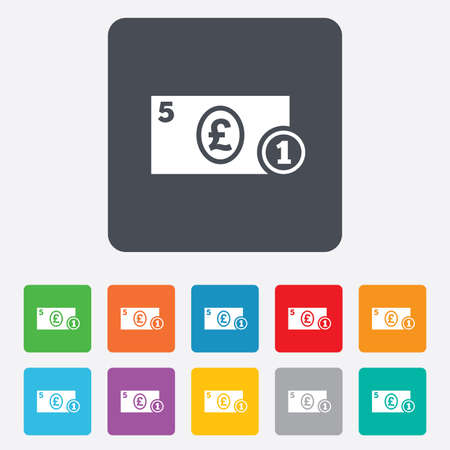 gbp: Cash sign icon. Pound Money symbol. GBP Coin and paper money. Rounded squares 11 buttons.
