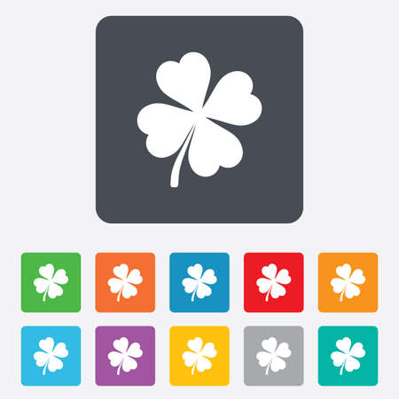 Clover with four leaves sign icon. Saint Patrick symbol. Rounded squares 11 buttons. photo