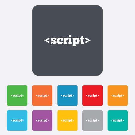 javascript: Icono de se�al de secuencias de comandos. Javascript s�mbolo de c�digo. Cuadrados redondeados 11 botones.