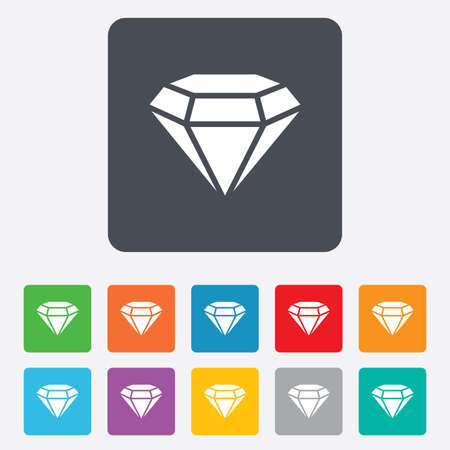 Diamond sign icon. Jewelry symbol. Gem stone. Rounded squares 11 buttons. photo