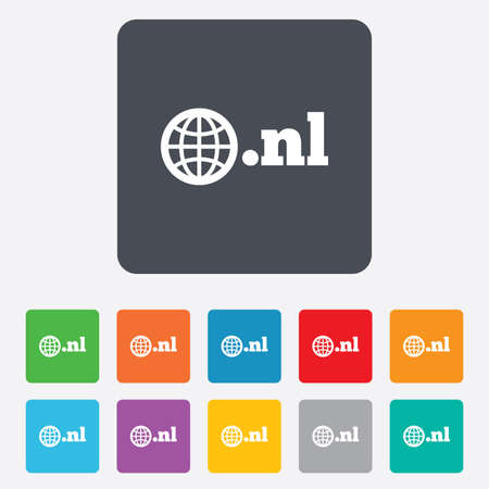 nl: Domain NL sign icon. Top-level internet domain symbol with globe. Rounded squares 11 buttons. Stock Photo