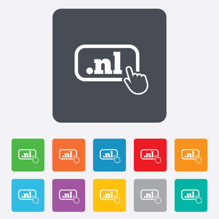 nl: Domain NL sign icon. Top-level internet domain symbol with hand pointer. Rounded squares 11 buttons. Stock Photo