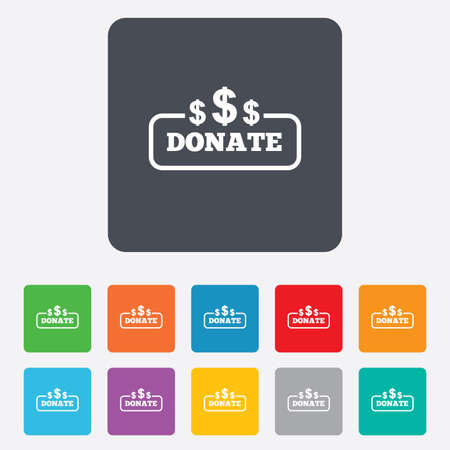 usd: Donate sign icon. Dollar usd symbol. Rounded squares 11 buttons.