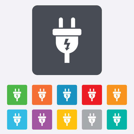 adapter: Electric plug sign icon. Power energy symbol. Lightning sign. Rounded squares 11 buttons. Stock Photo