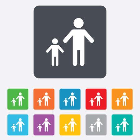 Familia monoparental con un icono de la muestra del niño Foto de archivo - 28104857