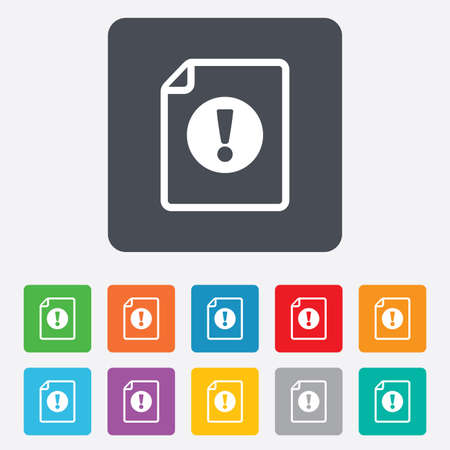 File attention sign icon. Exclamation mark. Hazard warning symbol. Rounded squares 11 buttons. photo