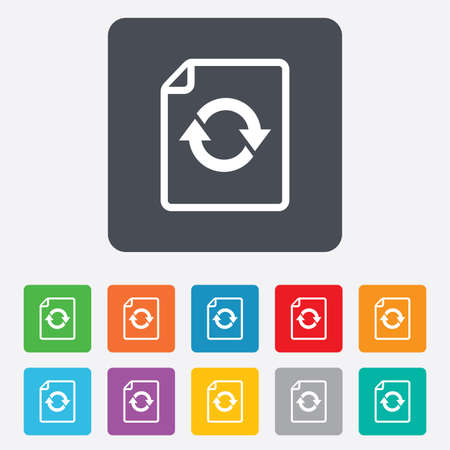 File document refresh icon. Reload doc symbol. Rounded squares 11 buttons. photo