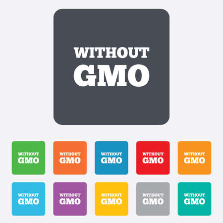 gmo: No GMO sign icon. Without Genetically modified food. Stop GMO. Rounded squares 11 buttons.