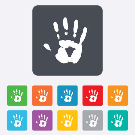 Hand print sign icon. Stop symbol. Rounded squares 11 buttons. photo