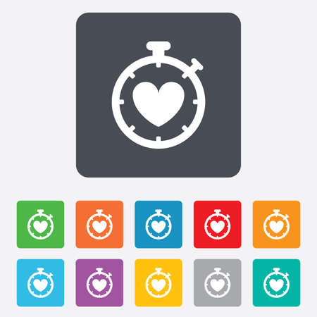 Heart Timer sign icon. Stopwatch symbol. Heartbeat palpitation. Rounded squares 11 buttons. photo