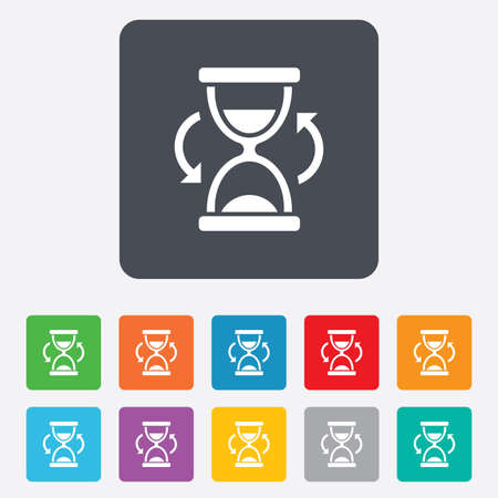 sand timer: Hourglass sign icon. Sand timer symbol. Rounded squares 11 buttons.